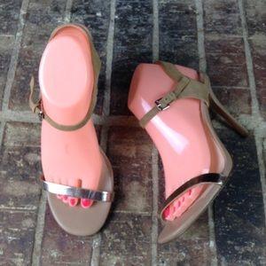 Charles David Tan Rose Gold Strap Heels Sandals 9